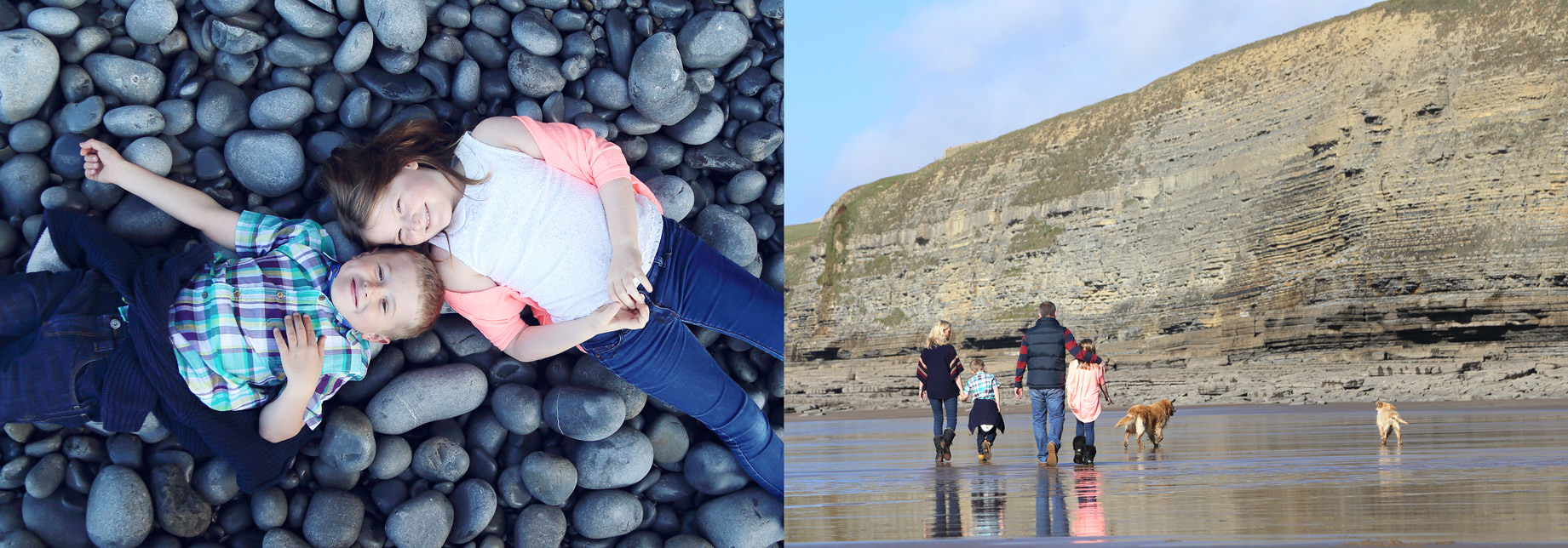 Family photo shoot on the beach South Wales
