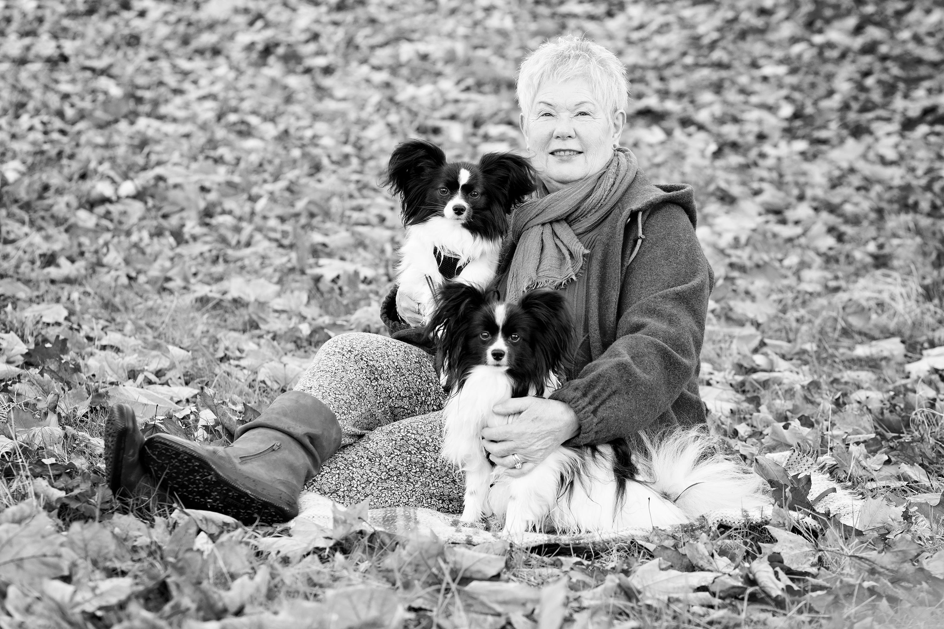 Portrait of woman with her dogs