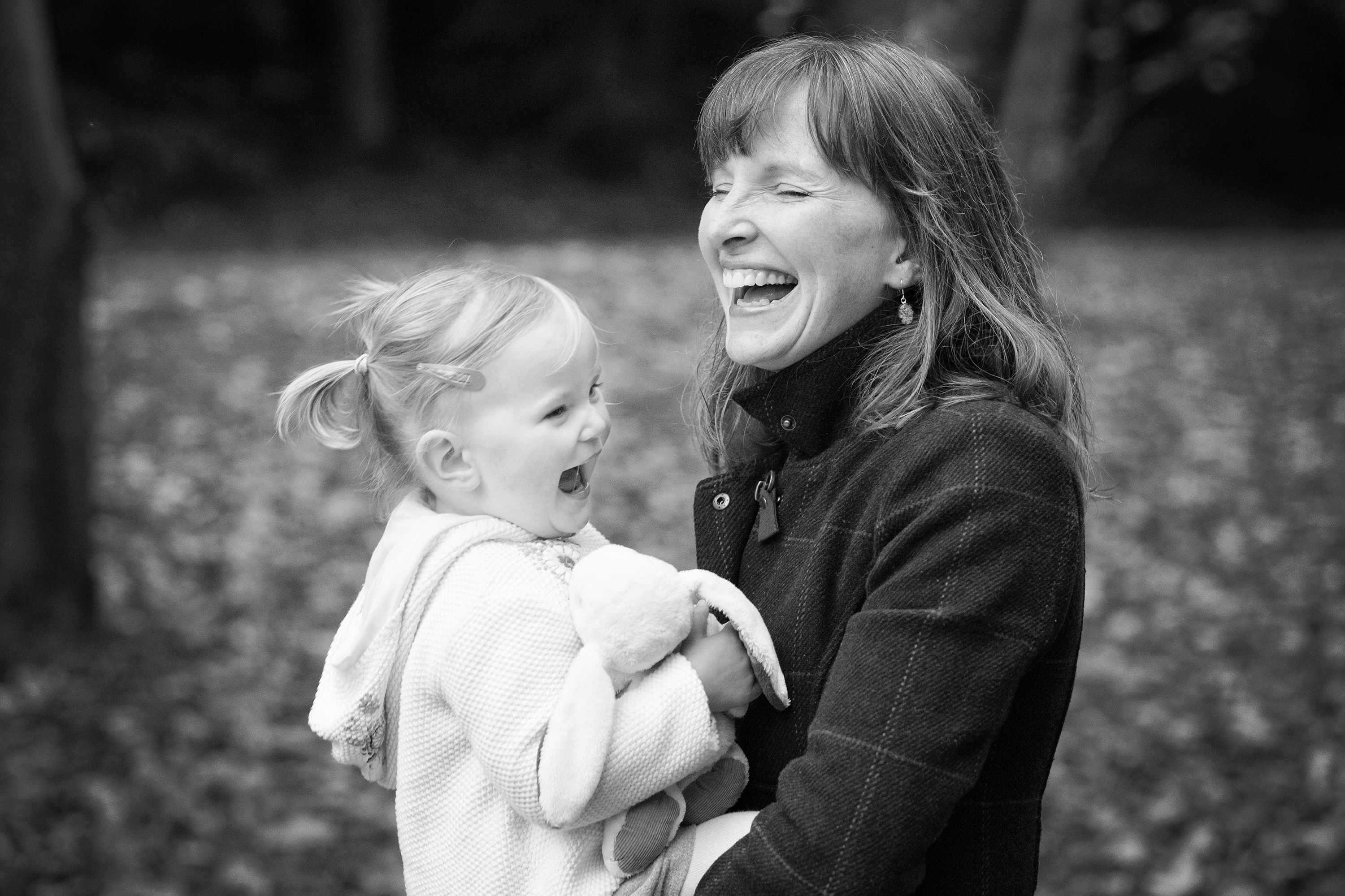 Mum and toddler laughing in Castell Coch