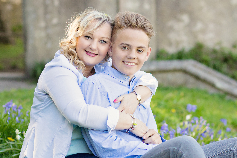 Mum hugging son Spring photo shoot
