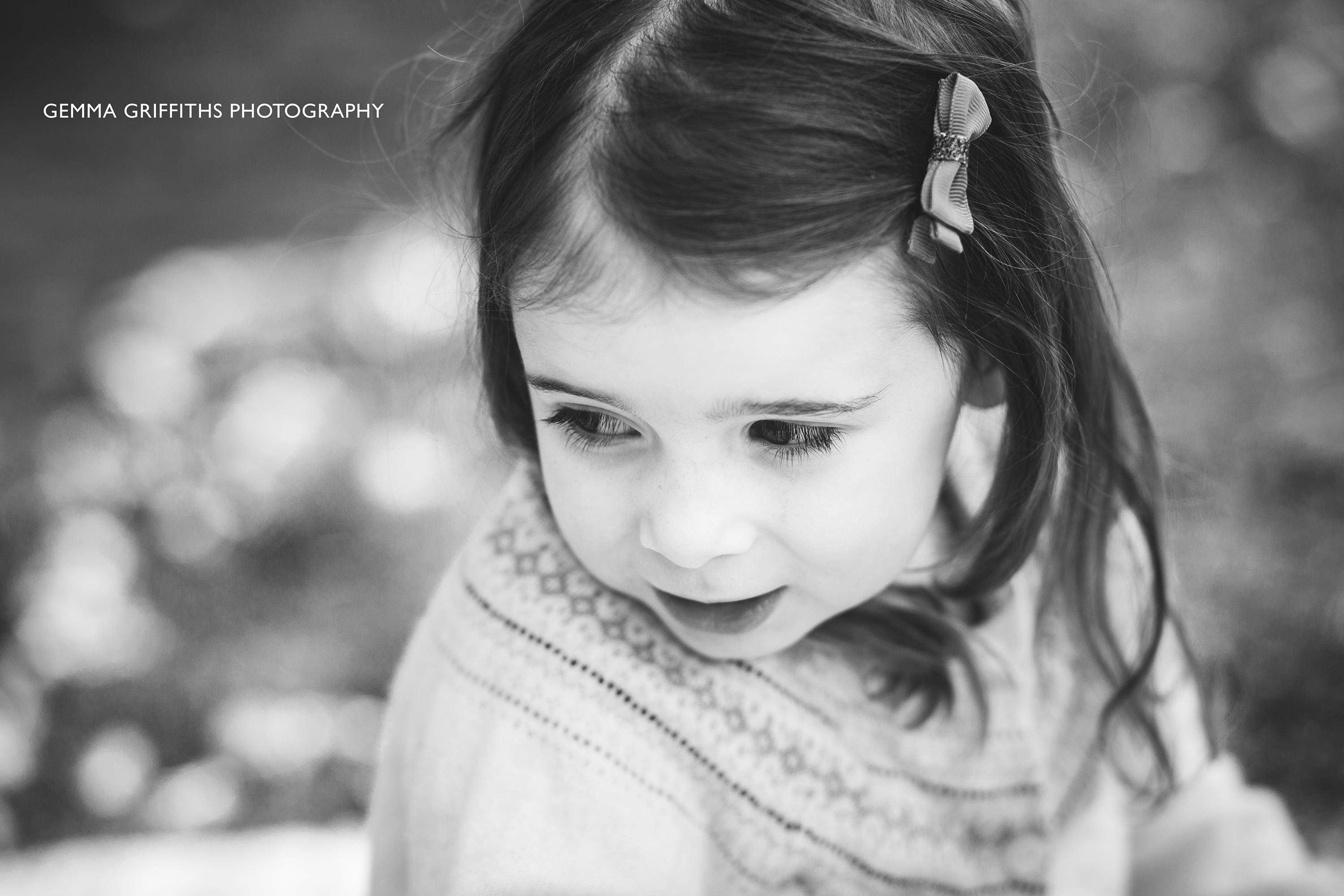 Black and white image of a little girl