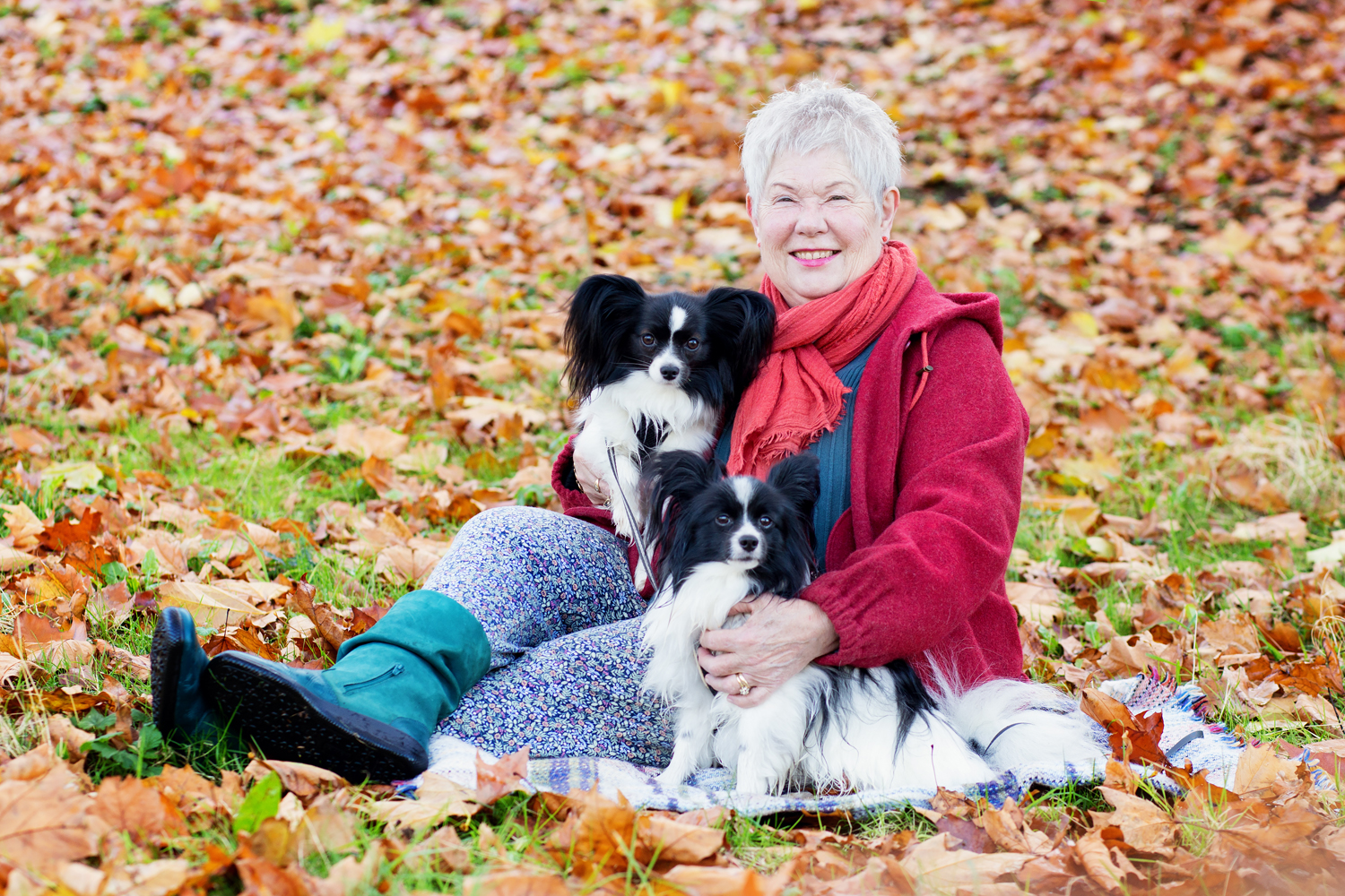 Autumnal portrait with dogs