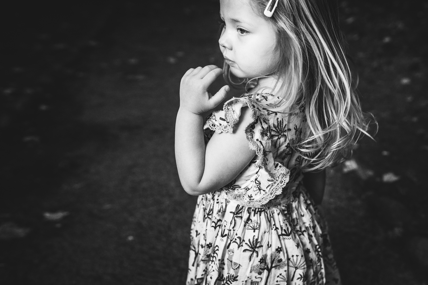 Black and white image of little girl