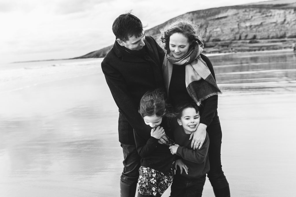 South Wales family beach shoot. Family on the beach.