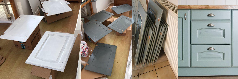 kitchen doors being painted