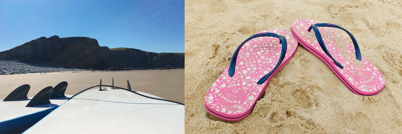 surfboards, flip flops, beach