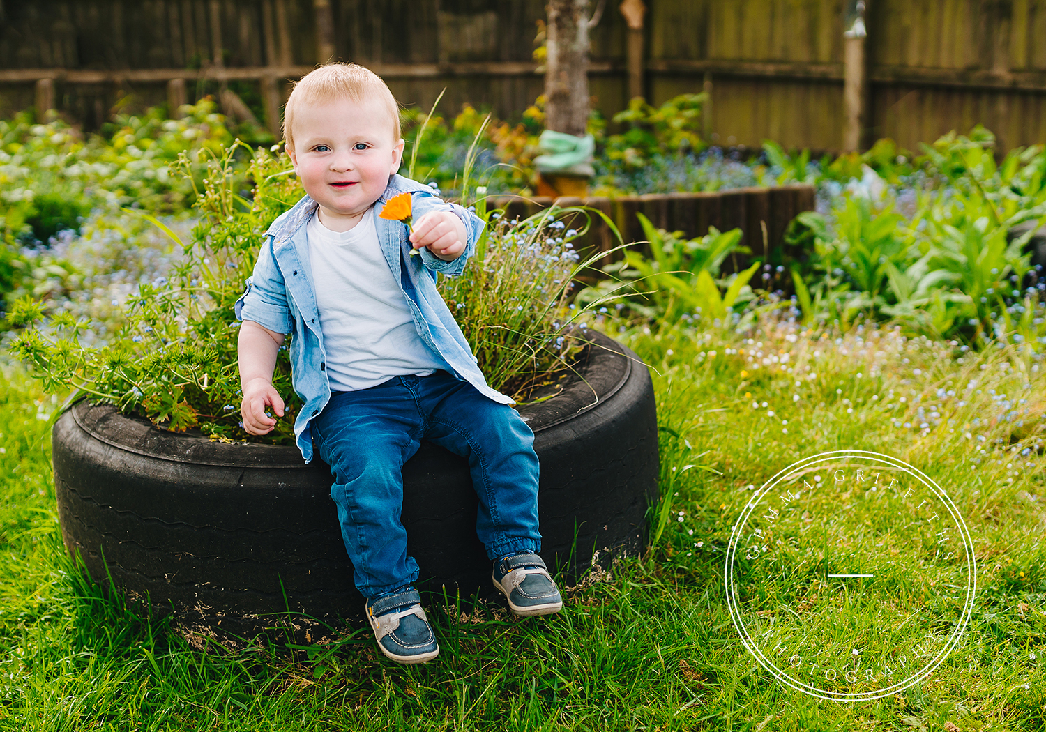 toddler photography boy with flower
