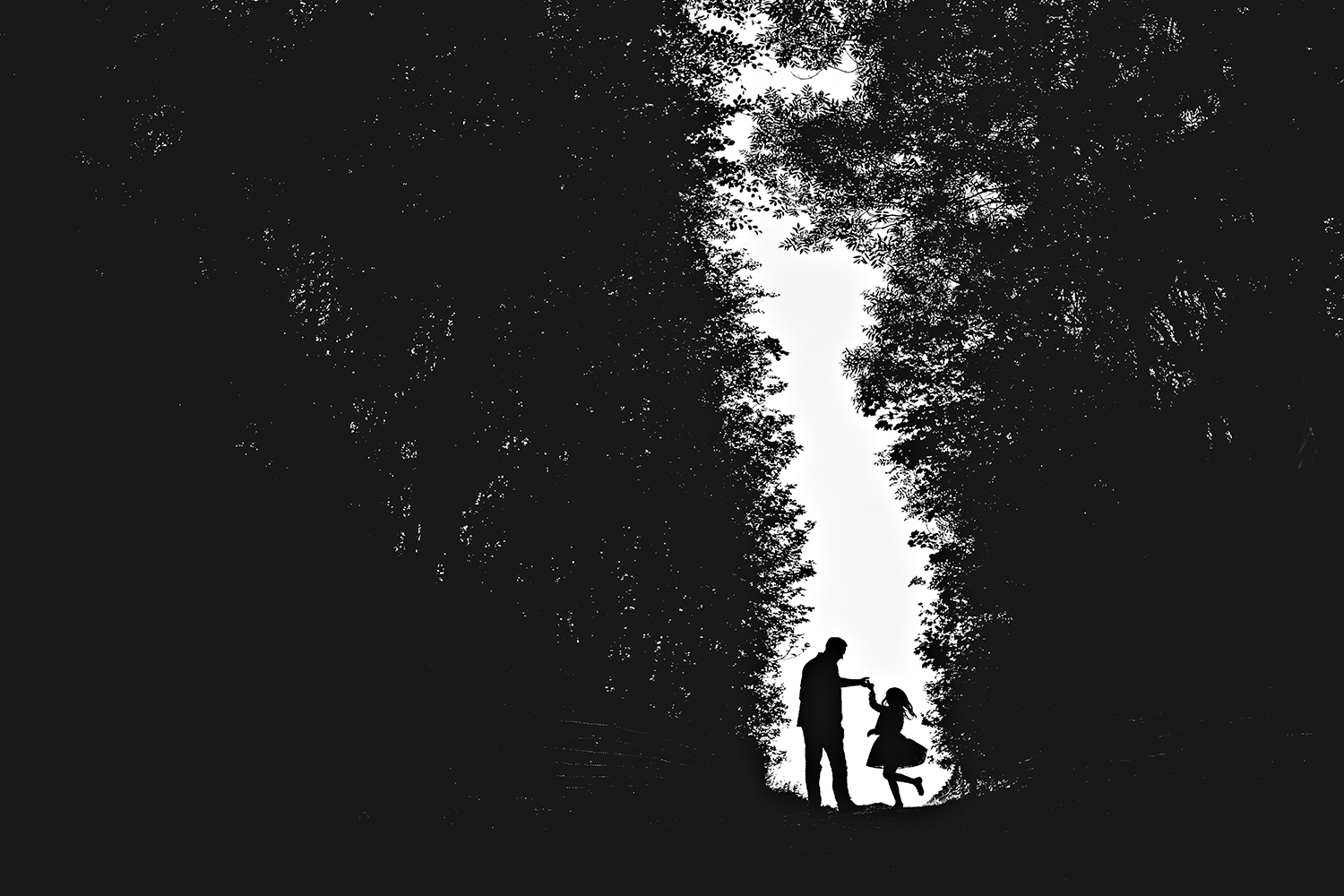 silhouette image of girl dancing with her dad.