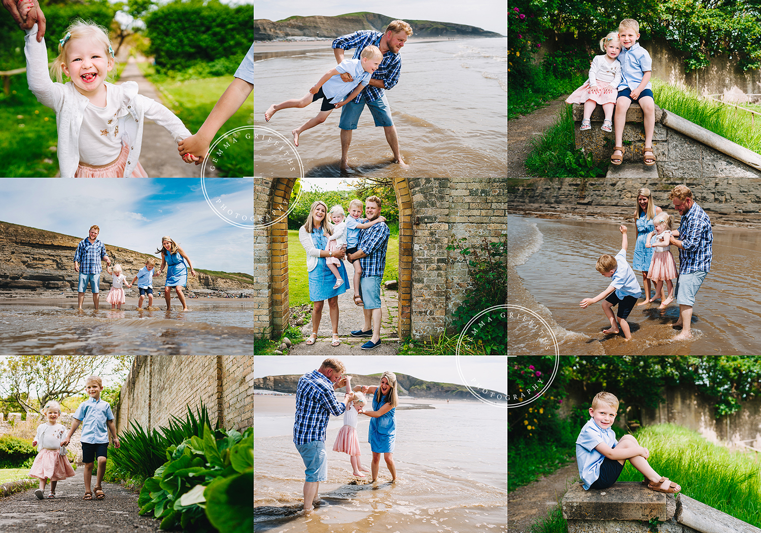 Family photo shoot on Southerndown Beach.