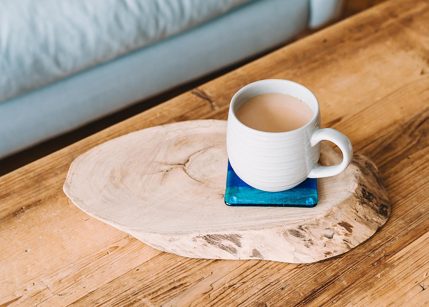 cup of tea on glass coaster