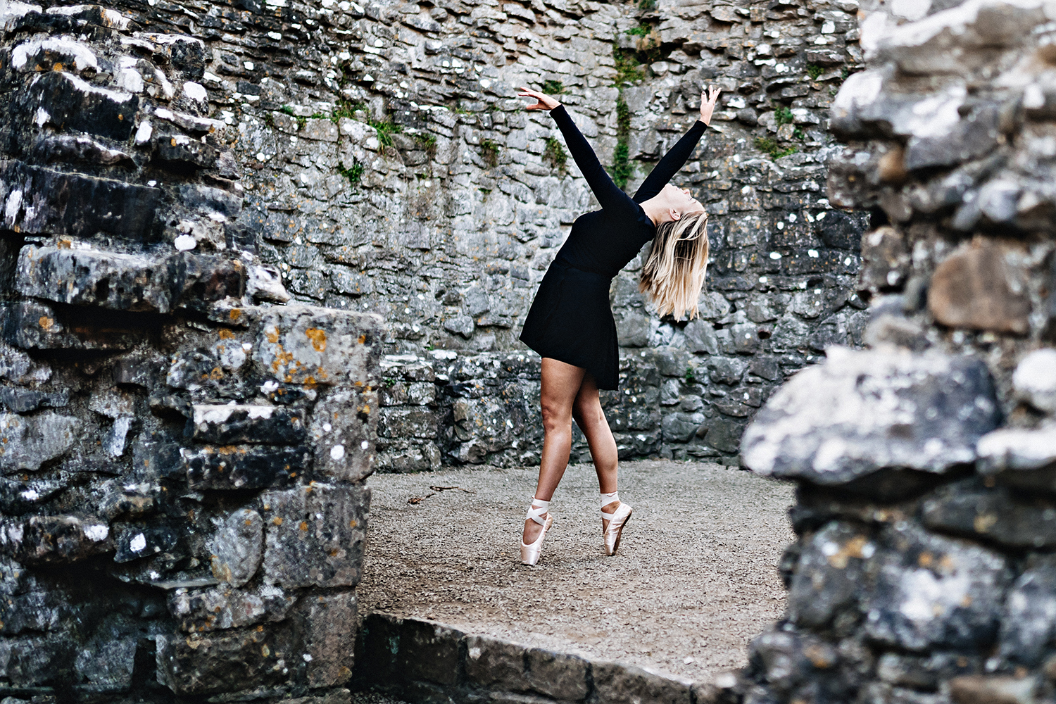 ballet dancer in a castle